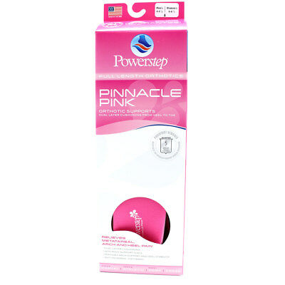 Powerstep Women's Pinnacle Shoe Insoles, Pink, ALL SIZES