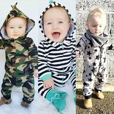 Toddler Jumpsuit Newborn Infant Striped Hooded Romper Long Sleeve Baby clothes
