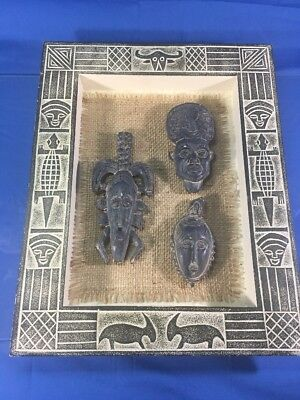 African Style Carved Wood Mask Carving  Picture Frame Wall Decoration Tribal