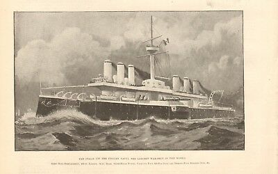 1893 Antique Print - The Italia- Largest Warship In The World