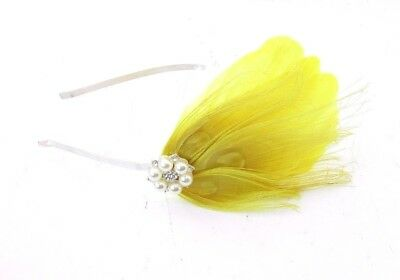 Yellow Silver Diamante Feather Fascinator Headband 1920s Races Great Gatsby 3925