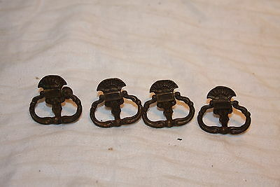 4 Antique Solid Brass Ornate Eastlake Knocker Style Drawer Pull Handles