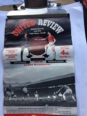 MANCHESTER UNITED v Blackburn Rovers UNITED REVIEW Programme 16th April 1960