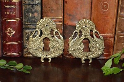 One Antique French Escutcheon Gilt Brass Ornate Swans Keyhole