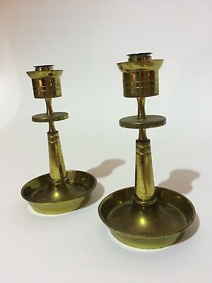Parzinger Brass Candle Holder Pair Dorlyn Silversmiths Mid Century