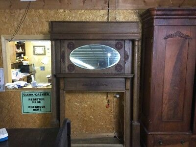 Super Antique Oak Mantle With Beveled Mirror Great Look