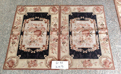 Beautiful Hand Woven French Aubusson Design Classic Vintage Needlepoint Rug