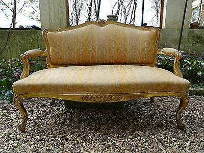 SUPERB 19thc SHABBY CHIC FRENCH LOUIS XVI GILTWOOD UPHOLSTERED SOFA SETTEE