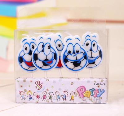 5 x Football Candles Happy Birthday Cake Toppers Party