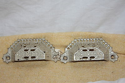 Pair of Victorian Eastlake Cast Iron Ornate Cut Out Bin Pulls Drawer Pulls
