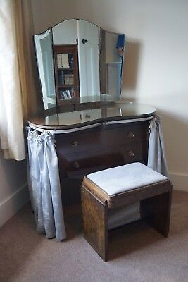 Kidney Shaped Oak Finish Dressing Table with Stool - Vintage Antique