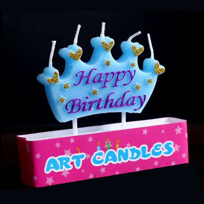 Happy Birthday Crown Candle Blue Glitter Happy Birthday Cake Topper Party