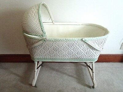 Vintage Baby Bassinet White Wicker Wood And Mint Green Trim With Canopy Top