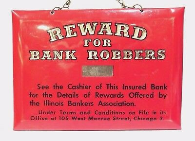 Antique BANK ROBBERS Celluloid Sign Crystoglas Whitehead & Hoag Co Advertising