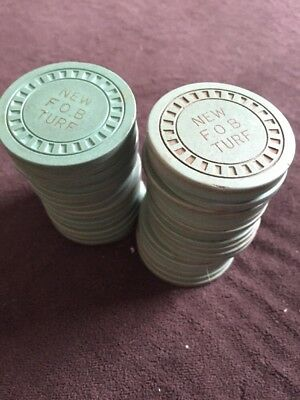 39 Illegal Casino CHIPS Tokens New F.O.B Turf Seattle clay Antique