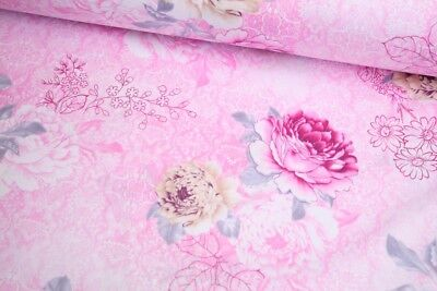 "Big Floral 100% cotton fabric sold by the meter 63"" super width 1709035"