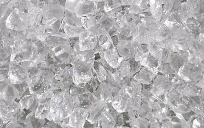 """20 LB Crushed Clear 3/8 """" - 1/2"""" Fire Glass for fire pits and fire place"""