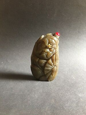 19th C Chinese Antique Natural Green Jade Hand Carved Snuff Bottle Red Coral Top