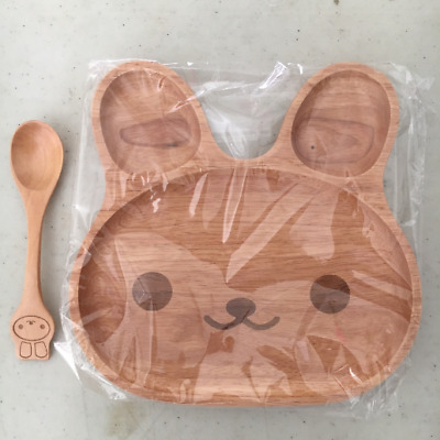 "Wooden creative children's breakfast tray/Dinner plate/ Bunny tray 8""x8"""