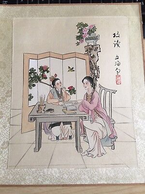 20th Century Large CHINESE Watercolor Painting On Silk Signed By The Artist(7)