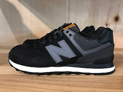 new concept b1ea4 56f6f NEW BALANCE 574 Black Grey Lux Nubuck Leather Sz 8 * Ml574Gpg *
