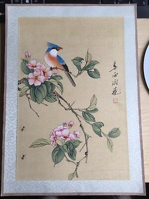 20th Century Large CHINESE Watercolor Painting On Silk Signed By The Artist(3)
