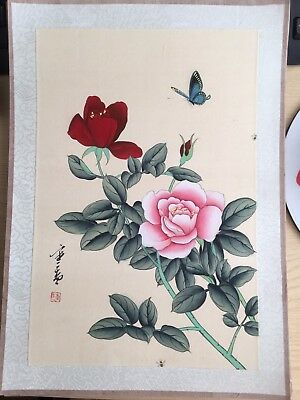 20th Century Large CHINESE Watercolor Painting On Silk Signed By The Artist(1)