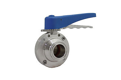 1'' Sanitary Butterfly Valve Clamp Ends Silicone 316L Stainless Steel Trynox