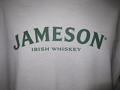 Sz L Jameson Irish Whiskey White Heavy Cotton T Shirt w Green Lettering Graphic
