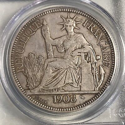 1908-A  Piastre French Indo-China Silver Crown PCGS VF35