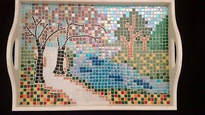 Serving Tray Handcrafted Mosaic Design 35 x 50 cm
