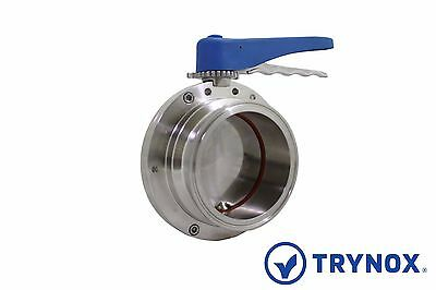 4'' Sanitary Butterfly Valve Clamp Ends Silicone 316L Stainless Steel Trynox