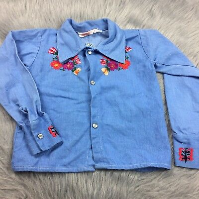 Vintage Girls Toddler Blue Floral Butterfly Embroidered Button Up Shirt 70s