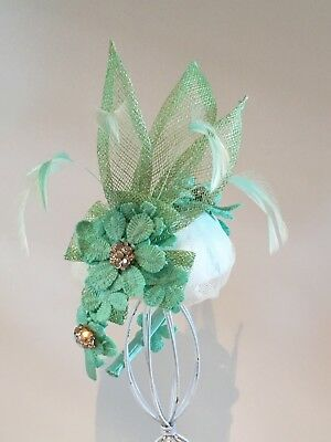 Green Lace And Feather Fascinator Spring Racing Melbourne Cup Weddings