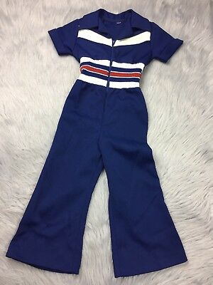 Vintage Toddler Boys Girls Blue Polyester Jumpsuit Romper