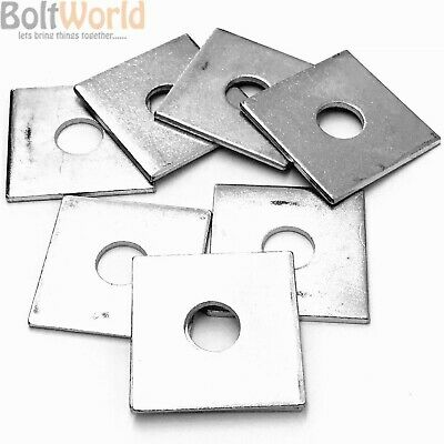M6 M8 M10 M12 M16 M20 THICK ZINC SQUARE PLATE WASHERS 40x40mm, 50x50mm, 3mm 5mm