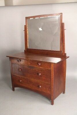 Arts And Crafts Mission Gustav Stickley Signed Oak Dresser With Mirror (10612)
