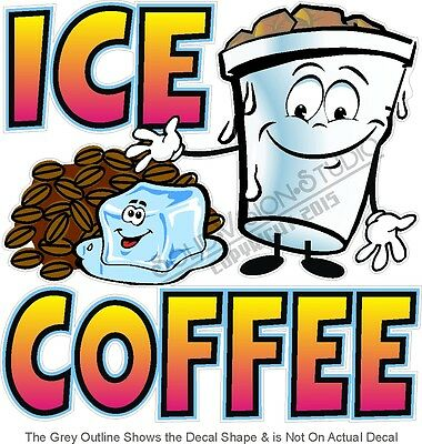 "14"" Ice Coffee Cartoon Concession Trailer Food Truck Restaurant Vinyl Sign Decal"