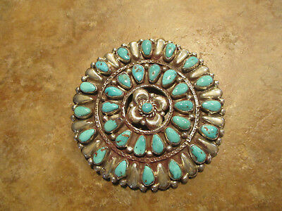 "HUGE 4"" OLD PAWN ZUNI Sterling Silver PETIT POINT Turquoise CLUSTER Pin / Brooch"