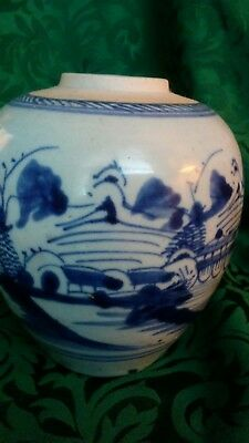 Antique Chinese 18Th? Century Blue White Porcelain Ginger Pot