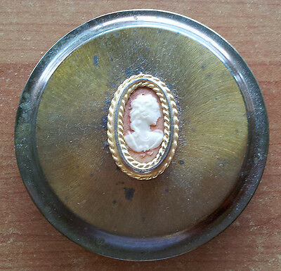 Powder compact, Stratton, empty, cameo on top, vintage