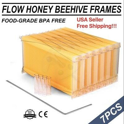 7PCS Automatic Flow Raw Frame Honey Beekeeping Beehive Hive Frames Harvesting