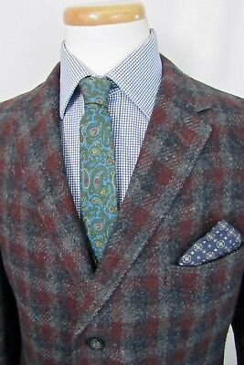 Vtg 1960s HARRIS TWEED Wool Blazer 42 L ~ Sport Coat PLAID jacket IVY LEAGUE mod