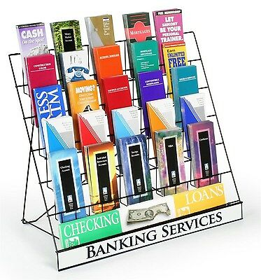 Displays2go Wire Display Rack for Brochures and Pamphlets 6 Tiers with Sign H