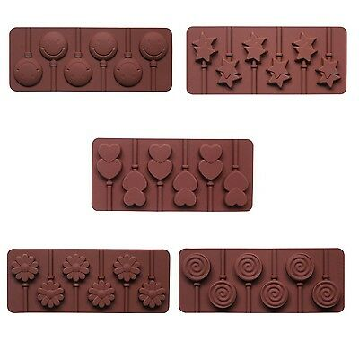 Silicone Lollipop Mold with 6 Holes Double Heart Star Small Flower Smile Face