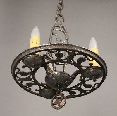 Antique 1920's Three Light Chandelier Fits Spanish Revival Tudor Cottage (10593)