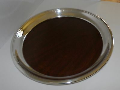 Mid Century Modern Serving Tray with Silverplate Rim and Mircarta Center