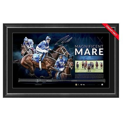 Winx Horse Racing Magnificent Mare Dual Hand Signed Framed Racing Whip Bowman