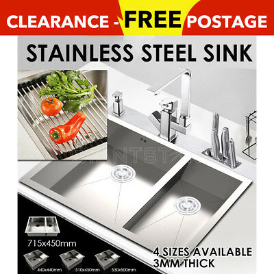 Stainless Steel Sink Handmade Undermount Topmount Laundry Kitchen Single Double