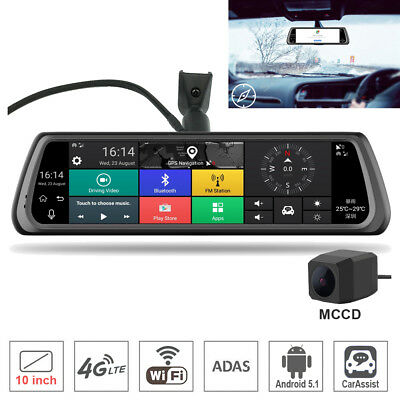 """10"""" Touch IPS Mirror 4G Dual Car DVR Camera GPS Bluetooth WIFI ADAS Android 5.1"""